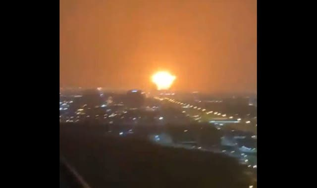 <p>Witnesses captured the explosion as it appeared on the Dubai skyline </p>