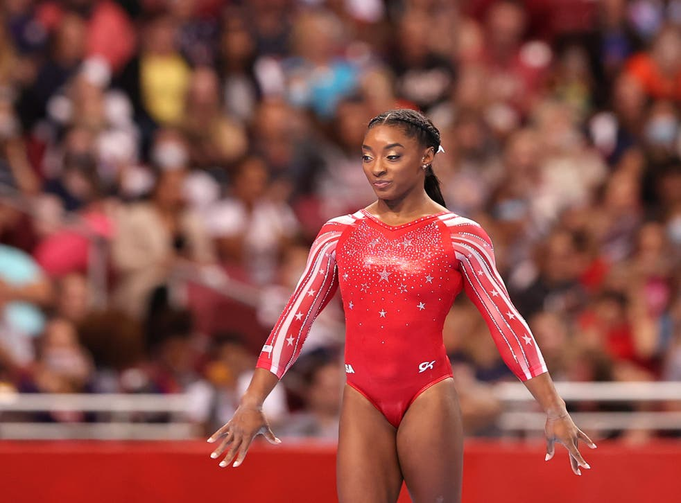 <p>Simone Biles competes in the floor exercise during the Women's competition of the 2021 US Gymnastics Olympic Trials at America's Center on 27 June, 2021 in St Louis, Missouri. Ms Biles has spoken out about the trauma she faced after being sexually abused by Larry Nassar.</p>