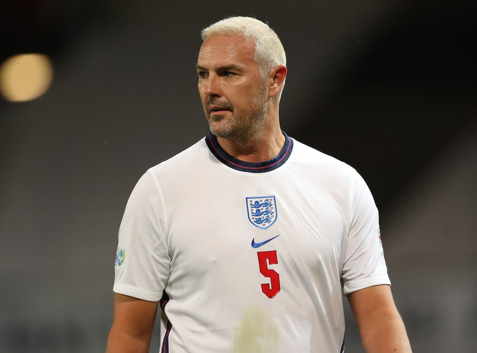 <p>McGuinness playing for England at Soccer Aid 2020</p>