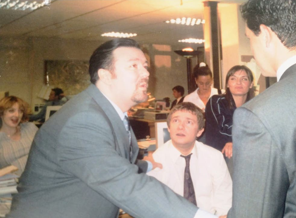<p>The creation of a classic: Ricky Gervais and Martin Freeman on the set of 'The Office' in 2001</p>