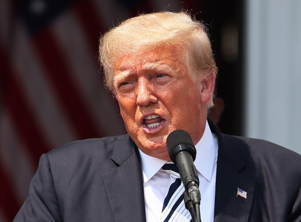 <p>Donald Trump speaking at his Bedminster, NJ, golf club</p>