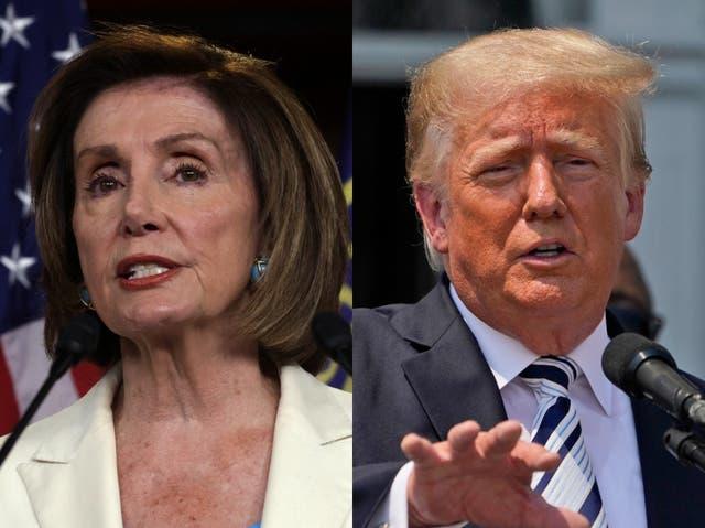 <p>Nancy Pelosi reprendió a Donald Trump como un 'jubilado de Florida acusado dos veces' en su capacidad oficial como oradora</p>