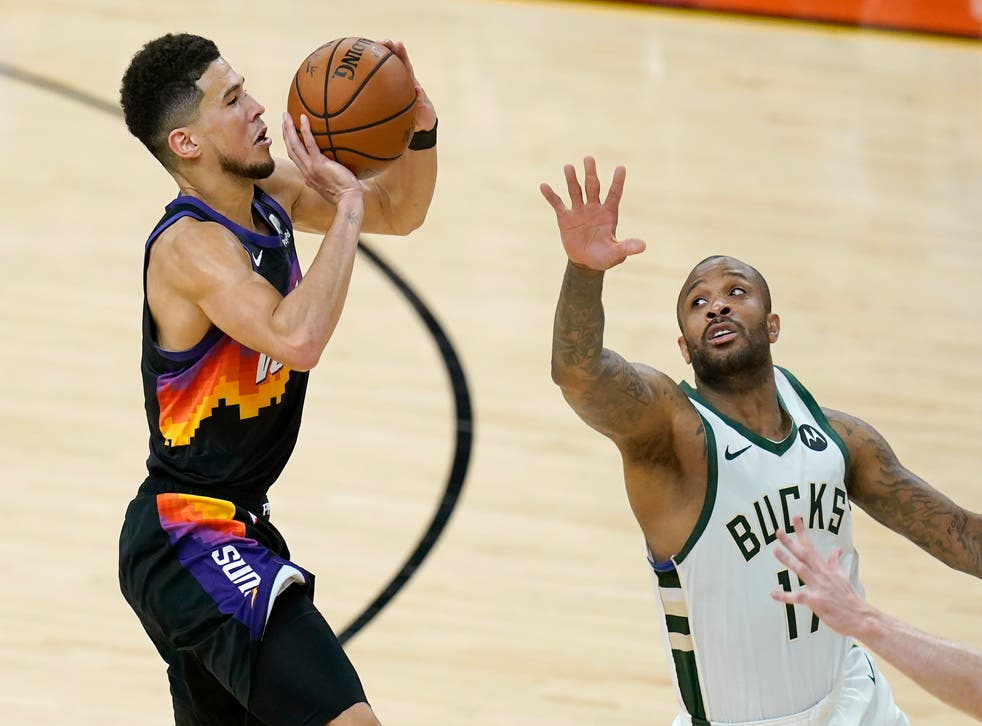 Devin Booker helps Phoenix Suns to 2-0 lead over Milwaukee Bucks | The  Independent