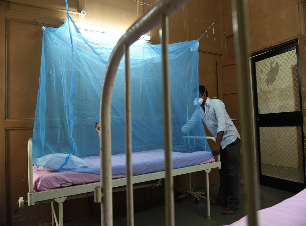 <p>File: An attendant places a mosquito net at an isolation ward for Zika virus patients at a hospital in India's Ahmedabad city on 27 October 2018</p>