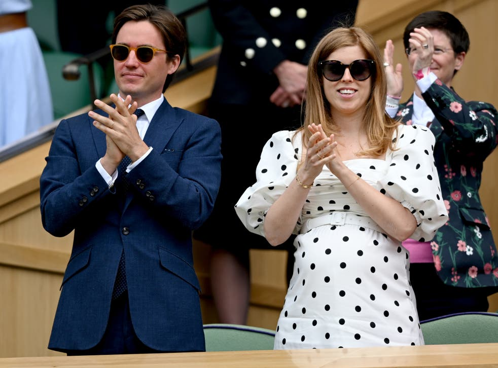 <p>Edo Mapelli Mozzi and Princess Beatrice, Mrs Edoardo Mapelli Mozzi attend Wimbledon Championships Tennis Tournament at All England Lawn Tennis and Croquet Club on 8 July 2021</p>