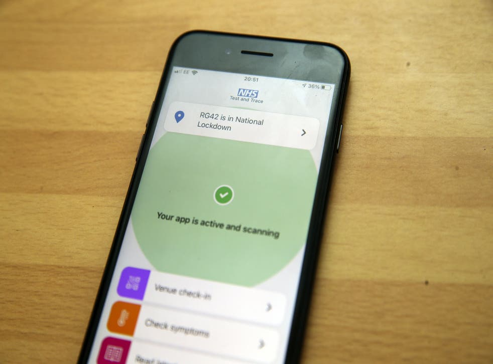 The NHS app on a smartphone