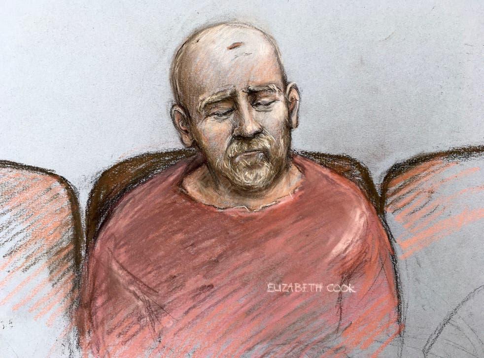 <p>A court artist sketch Wayne Couzens pleading guilty to killing Sarah Everard </p>