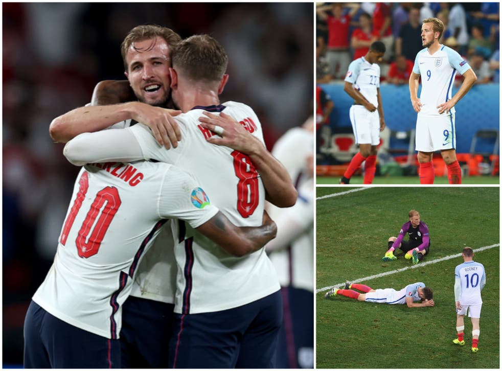 <p>England are in the Euro 2020 final five years on from losing to Iceland</p>