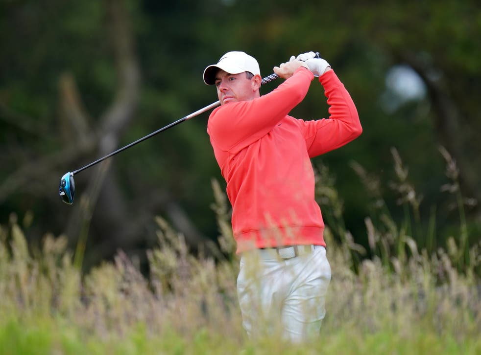 <p>Rory McIlroy in action in Aberdeen</p>