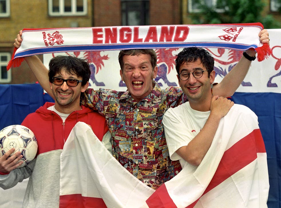 <p>It's coming home: Ian Broudie, Frank Skinner and David Baddiel photographed in 1998, announcing the re-release of 'Three Lions'</p>