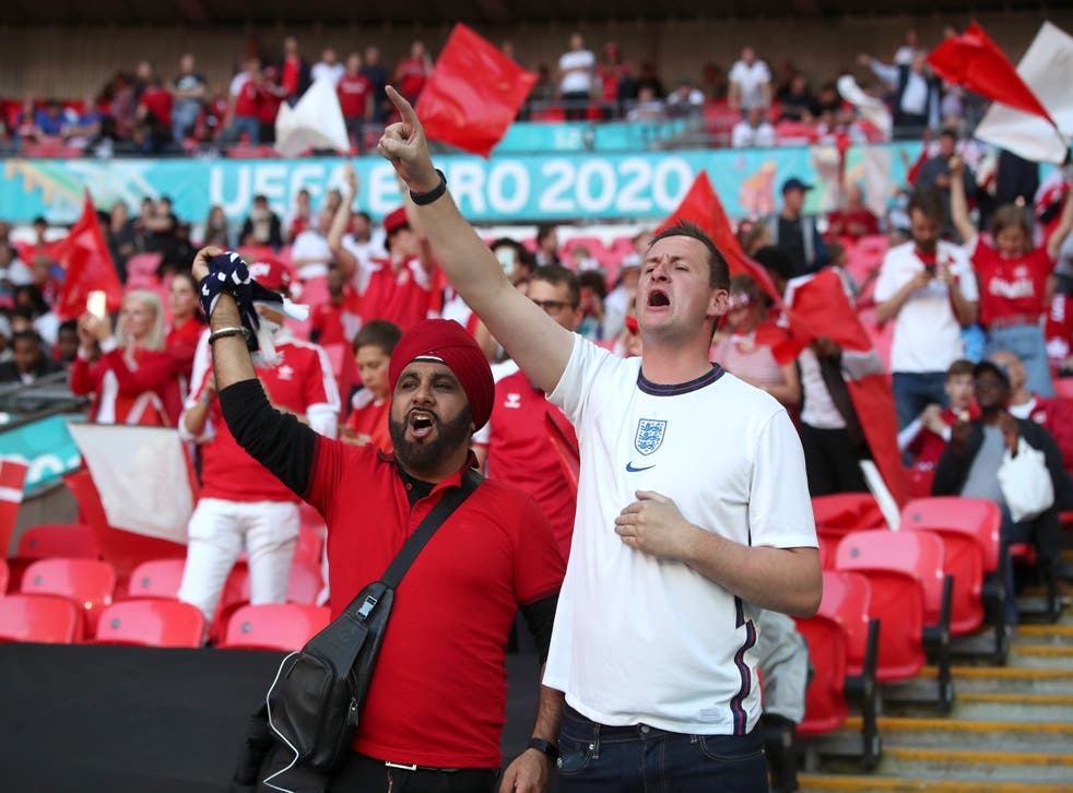 England fans in the stands at Wembley