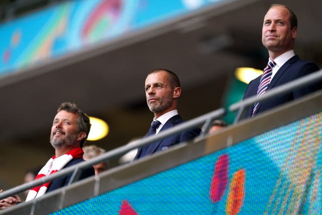 <p>UEFA president Aleksander Ceferin, centre, says he is against a repeat of a Euros spread across the continent</p>