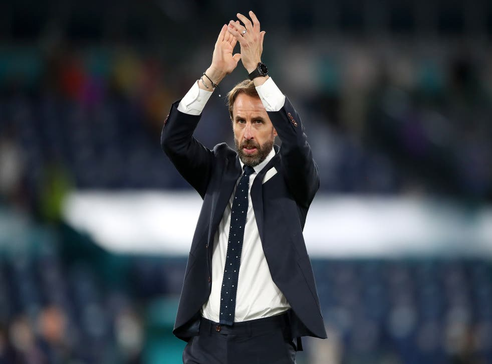 England manager Gareth Southgate applauds the fans after the UEFA Euro 2020 Quarter Final match