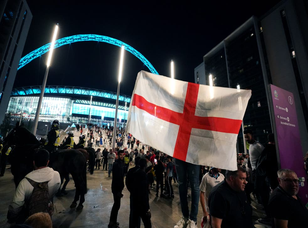 England fans outside Wembley Stadium after England qualified for the Euro 2020 final