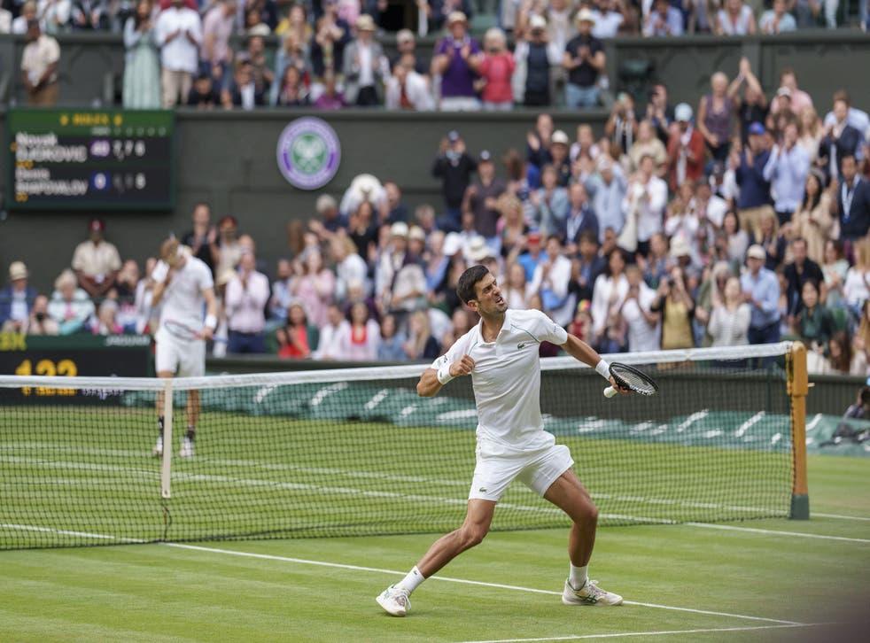 Novak Djokovic celebrates victory