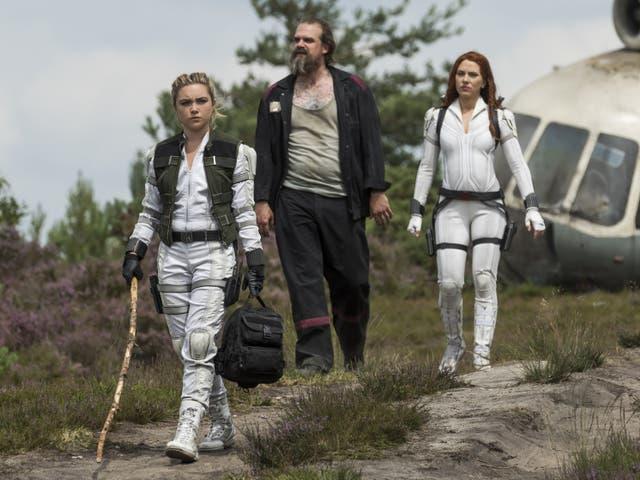 <p>Florence Pugh, David Harbour, and Scarlett Johansson in 'Black Widow'</p>