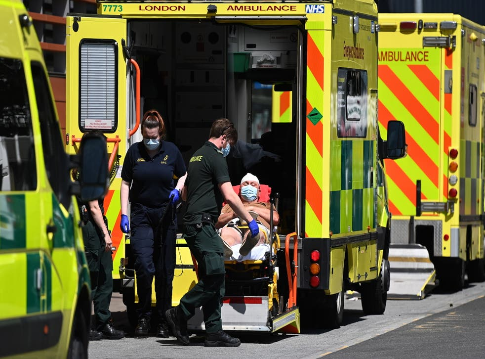 <p>A patient is brought into the Royal London Hospital</p>