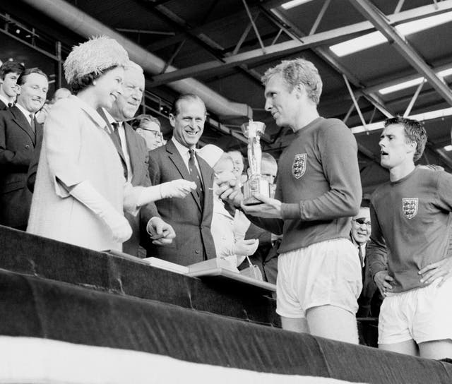 The Queen has recalled presenting England captain Sir Bobby Moore with the World Cup in 1966, as she wished the current team luck in the Euros final