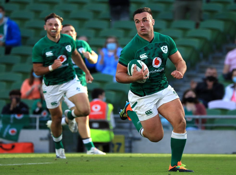 <p>Ireland's Ronan Kelleher, right, claimed four tries against the United States</p>