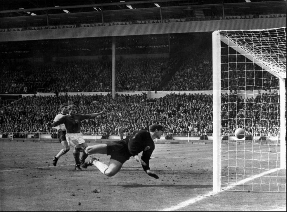 <p>Geoff Hurst's controversial second goal in 1966</p>