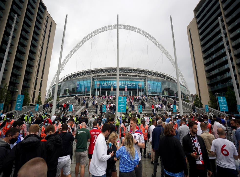General view of fans entering Wembley