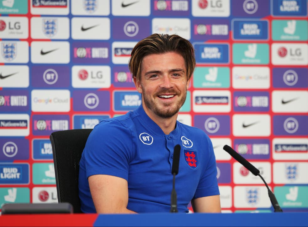 <p>Jack Grealish during an England press conference</p>