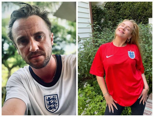 <p>Tom Felton and Adele were among the stars sending their commiserations to England</p>
