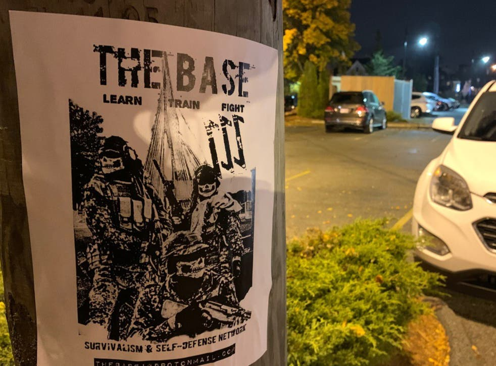 <p>A poster recruiting for neo-Nazi militant group The Base, which was posted on a Telegram channel accessed by the teenager </p>