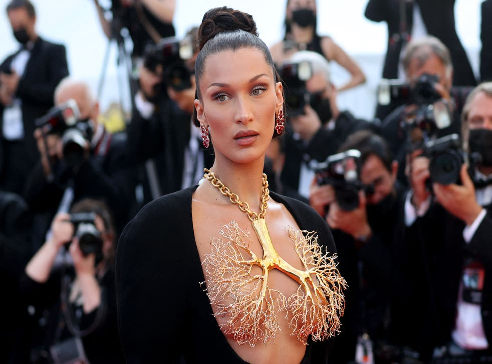 <p>Bella Hadid in the couture Schiaparelli gown at Cannes</p>