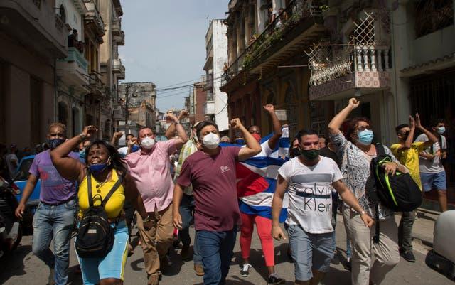 CORRECTION Cuba Protest