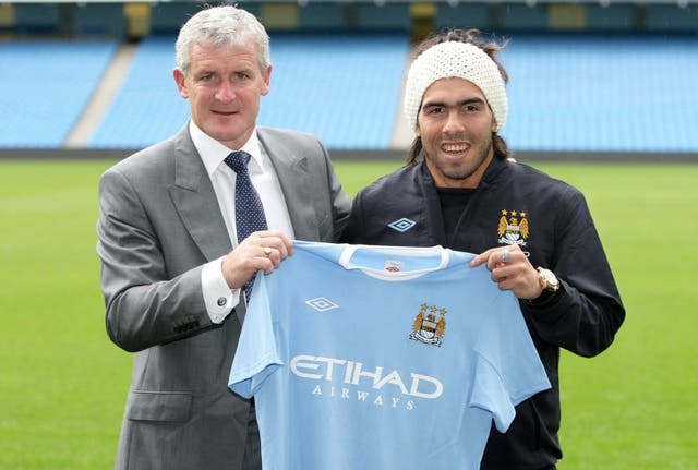 Carlos Tevez, right, joined Manchester City under manager Mark Hughes in 2009
