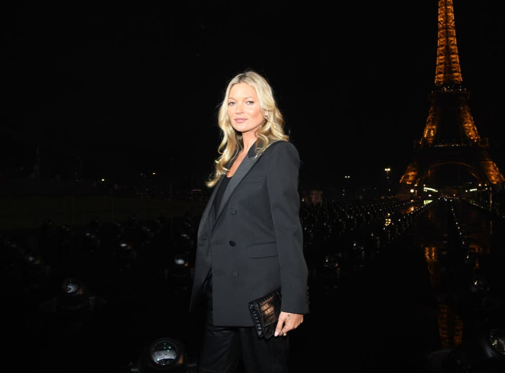 <p>Kate Moss attends the Saint Laurent Womenswear Spring/Summer 2020 show as part of Paris Fashion Week on 24 September 2019</p>