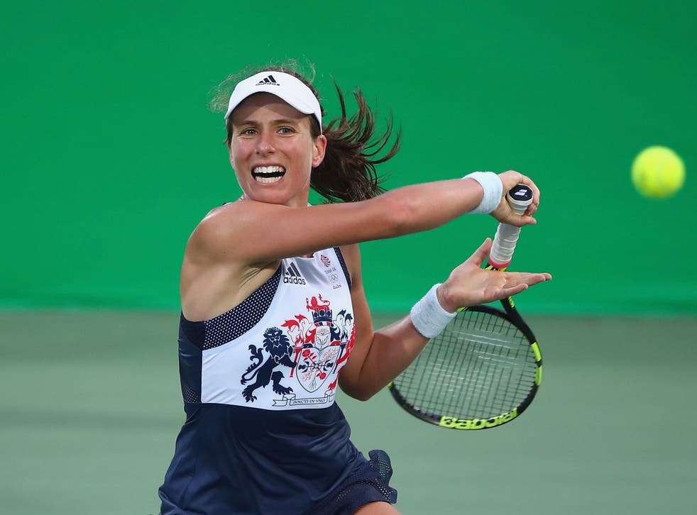 <p>Johanna Konta competing at the 2016 summer Olympics in Rio</p>