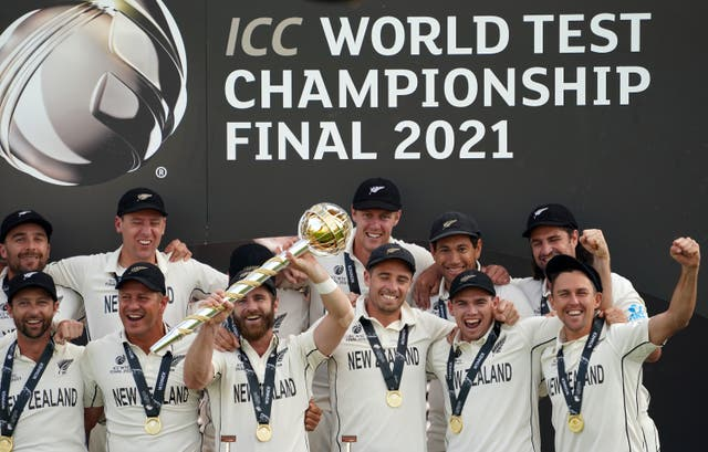 <p>New Zealand celebrate victory against India in the inaugural World Test Championship final</p>