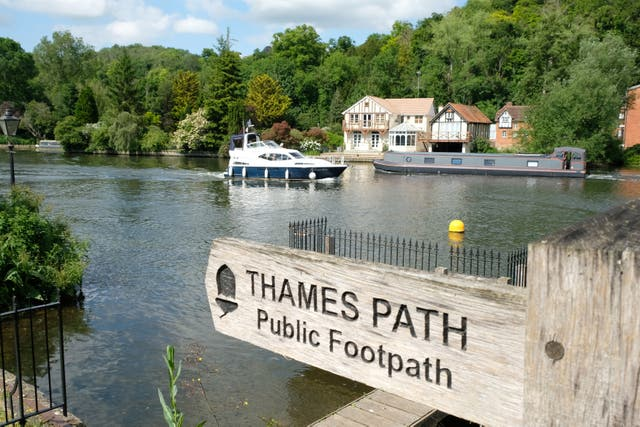 Signpost of the Thames Path near Marlow (Hannah Stephenson/PA)