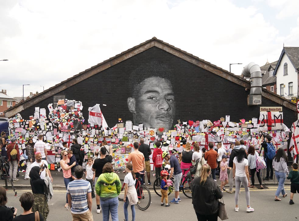 <p>Messages of support were placed on the mural of Manchester United and England striker Marcus Rashford after he was abused in the wake of the Euro 2020 final</p>