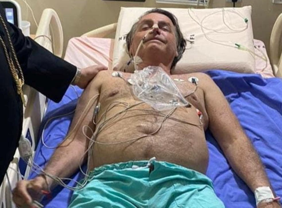 <p>Brazil's president Jair Bolsonaro pictured in hospital in an image posted on his Instagram account</p>