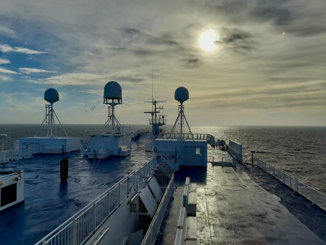<p>Sunset, or maybe sunrise, on the MS Norröna</p>