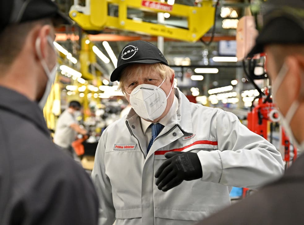 <p>Boris Johnson on a visit to the Nissan factory in Sunderland</p>