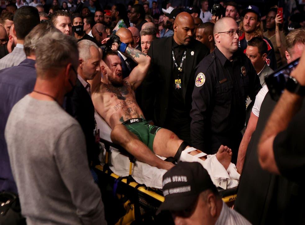 <p>McGregor broke his leg in his trilogy fight with Poirier </p>