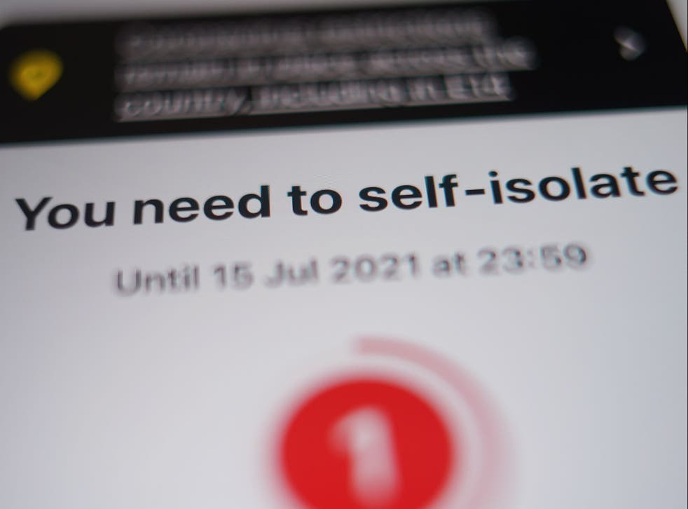 <p>A warning to isolate in the NHS Covid-19 app</p>