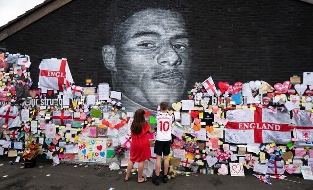 Mural of Manchester United striker and England player Marcus Rashford on the wall of the Coffee House Cafe on Copson Street, Withington