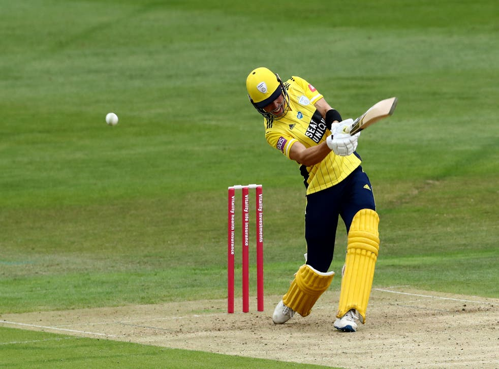 <p>Joe Weatherley struck 43 from 13 balls as Hampshire stormed to victory over Glamorgan in the Vitality Blast</p>
