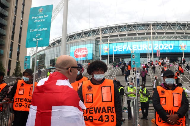 <p>Some England fans breached security to enter Wembley Stadium without a ticket</p>