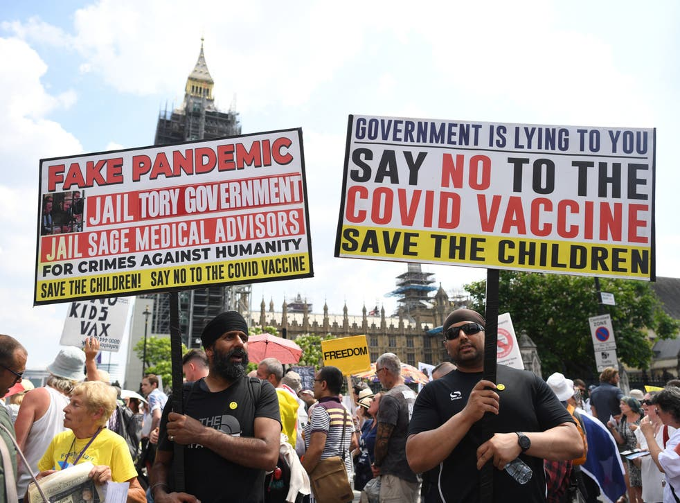 <p>An anti-vax protest in London in July </p>
