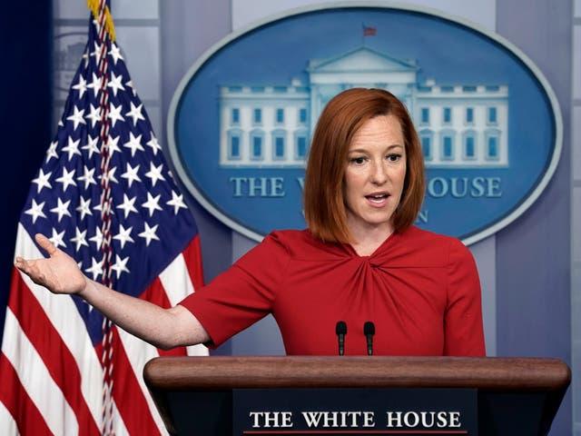 <p>La secretaria de prensa de la Casa Blanca, Jen Psaki, habla durante una conferencia de prensa diaria en la Casa Blanca en Washington, DC, Estados Unidos, 19 de julio de 2021.</p>