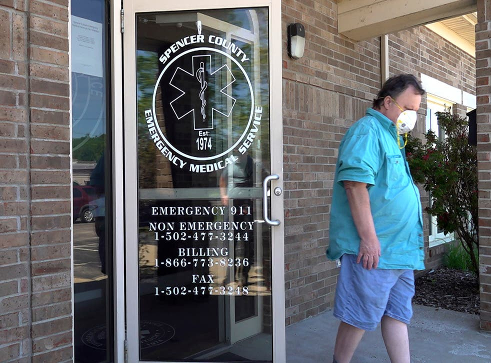 <p>A man leaves a clinic after receiving a dose of the COVID-19 vaccine in Taylorsville, Kentucky</p>