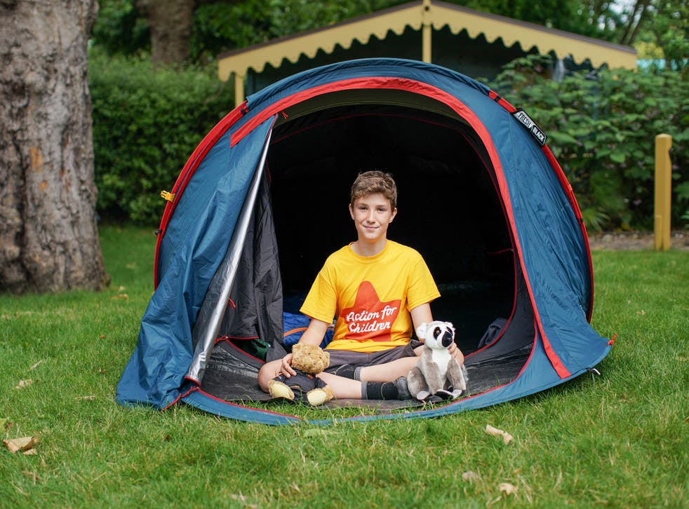 <p>Max Woosey in his tent at London Zoo earlier this month</p>