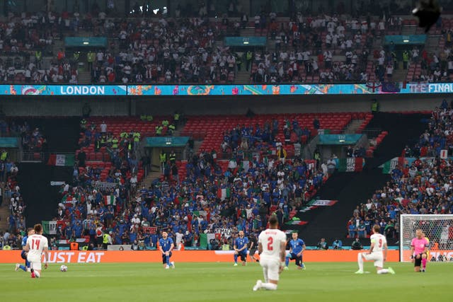 <p>The Euro 2020 final at Wembley: entrance to football stadiums and other large venues could soon require proof of double vaccination </p>