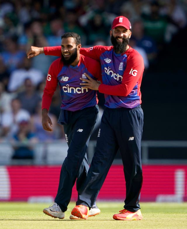 Adil Rashid, left, starred with the ball